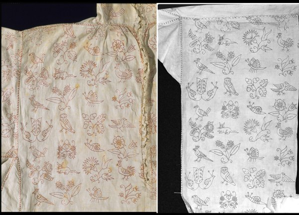 Scarletwork Embroidered Smock (detail - sleeve and front) - From the collections at the Victoria and Albert Museum. Made in England, Great Britain, 1615 - 1630, Linen fabric, linen thread, silk thread embroidery