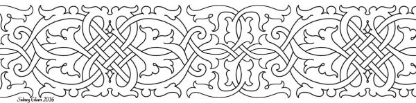 Freehand Blackwork Embroidery Pattern, transcribed by Sidney Eileen, from a Portrait of Henry VIII