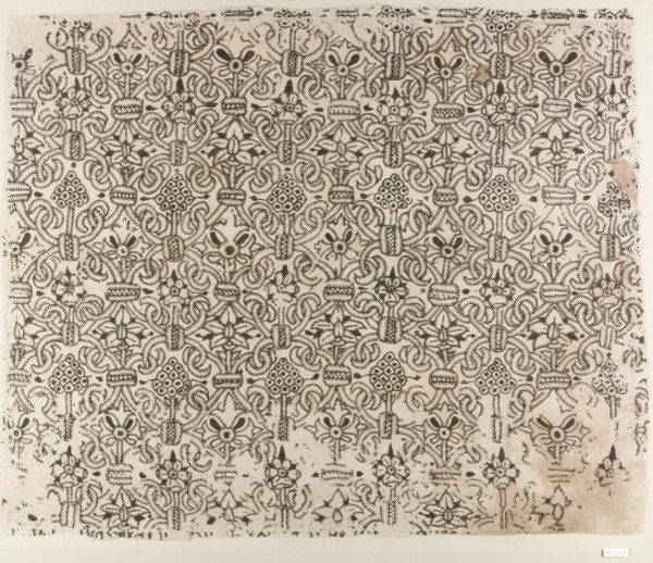 1580–1620 Panel of Blackwork, silk blackwork embroidery on linen fabric, in the collections of the Met Museum.