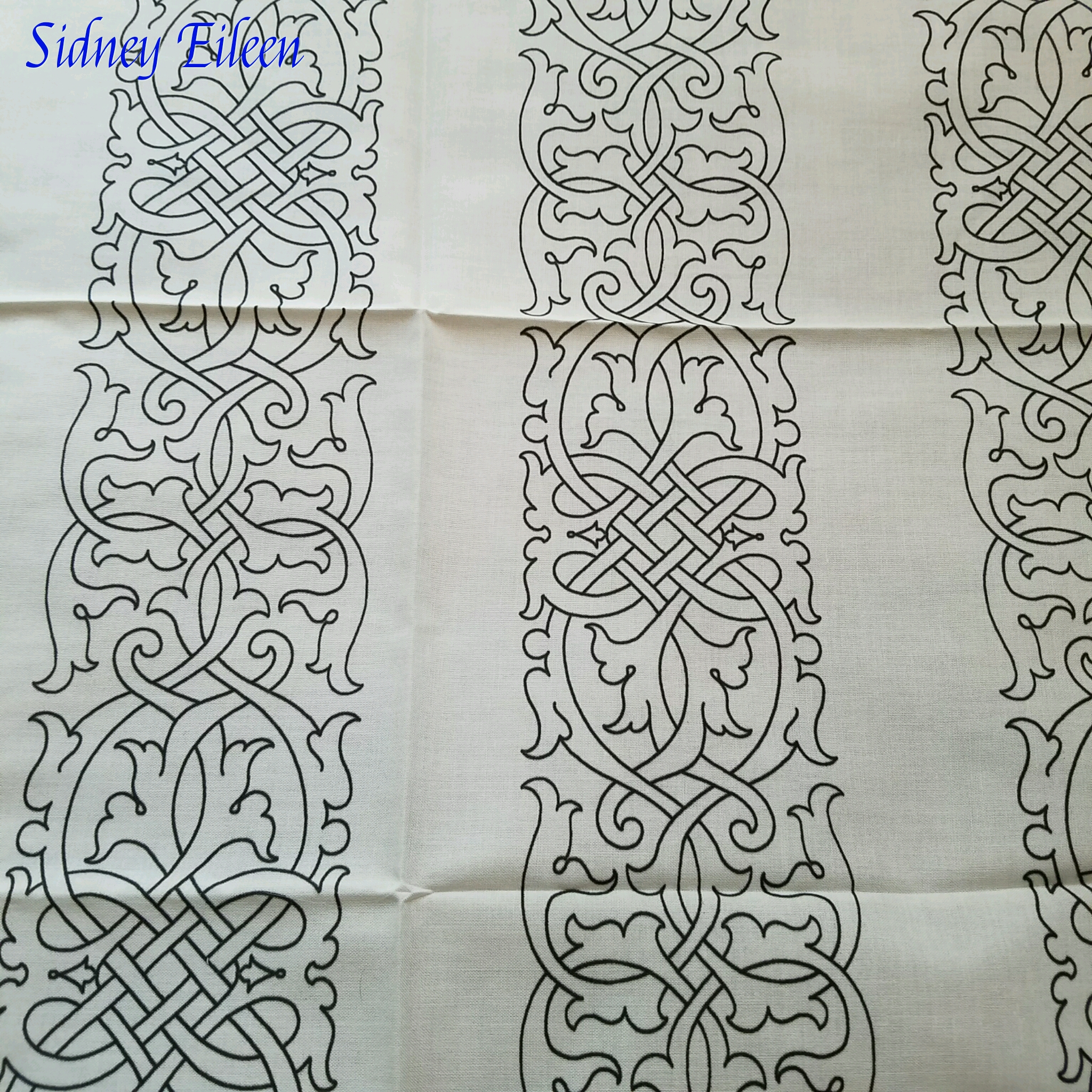 Tudor Floral Knotwork on Spoonflower Fabric