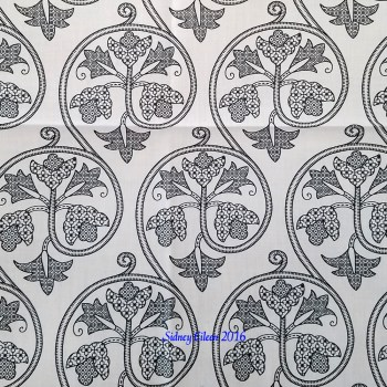 Detailed Elizabethan Scrolling Floral Blackwork on Spoonflower Fabric, by Sidney Eileen