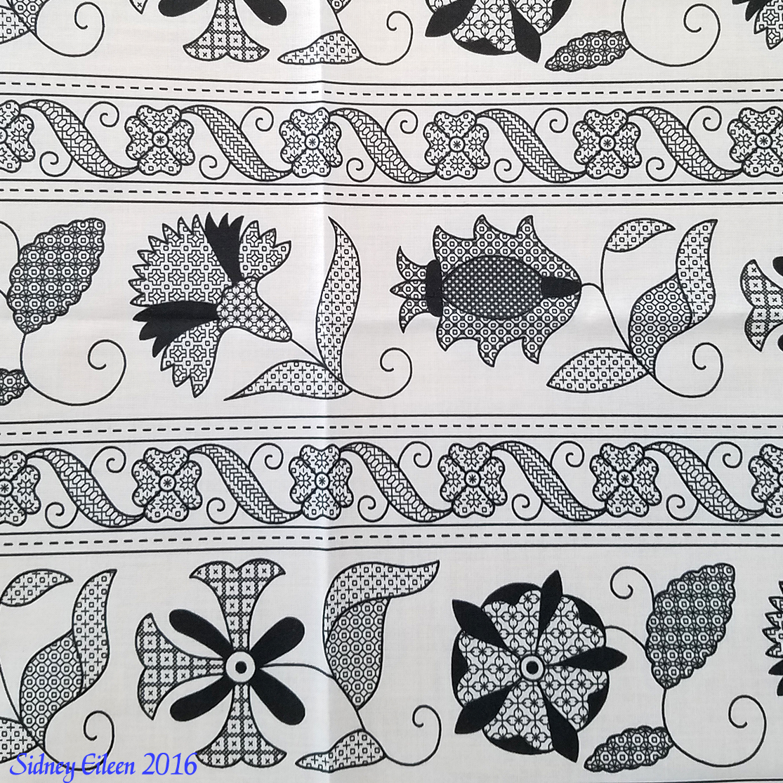 Detailed Elizabethan Blackwork Floral Bands on Spoonflower Fabric, by Sidney Eileen