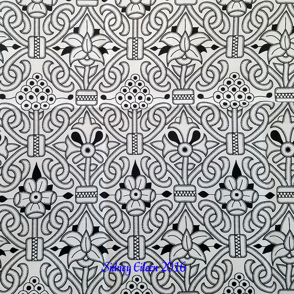 Detailed Elizabethan Carpet Floral Blackwork on Spoonflower Fabric, by Sidney Eileen
