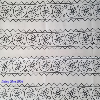 Elizabethan Simple Floral Blackwork Bands on Spoonflower Fabric, by Sidney Eileen