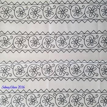 Elizabethan Simple Floral Blackwork Bands on Spoonflower Fabric, by Sidney Eileen