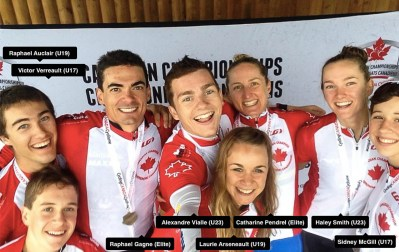 Podium selfie at the 2015 Canadian National MTB Championships in Saint-Félicien, Quebec.