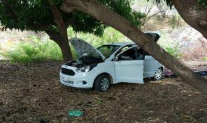 Ford KA usado pelos bandidos foi abandonado