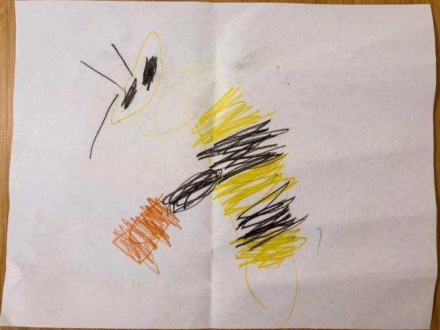 看著照片畫的蜜蜂