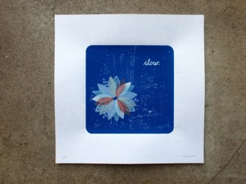 slow. 2010, Linocut/Stamp Print, Limited Edition.