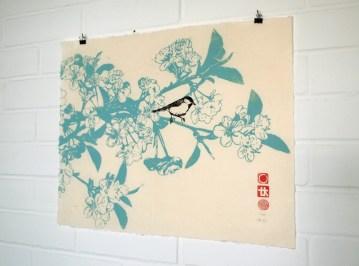 Cherry Blossom Print, 2010, Linocut Print on Kitakata Washi, Limited Edition of 15