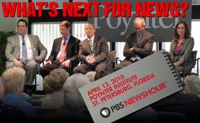 a five-member panel hosted by pbs' newshour deliberated the changing media landscape