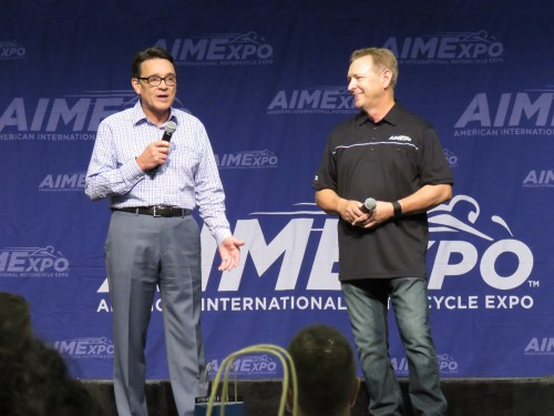 Motorcycle Industry Council members Tim Buche (left) and Larry Little detail MIC's purchase of AIMExpo event.