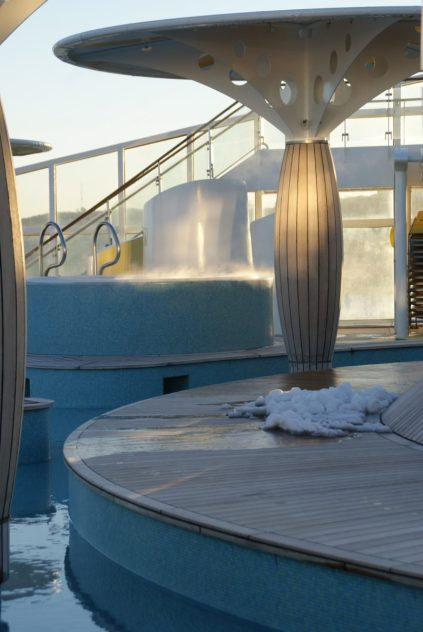 Nachtfrost am Pooldeck