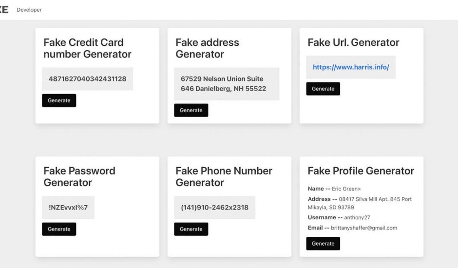 Fake Info Generator aperçu