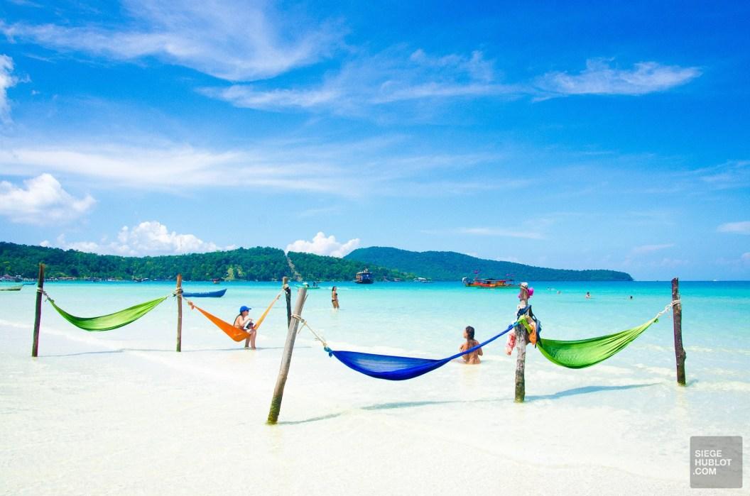 hamacs mer - Un paradis secret, Koh Rong Samloem, Cambodge - Asie, Cambodge