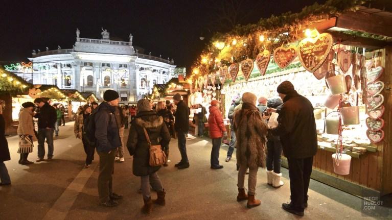 kiosque nuit marché - Vienne, Autriche - Marchés de Noël - Europe, Autriche, République tchèque, Slovaquie