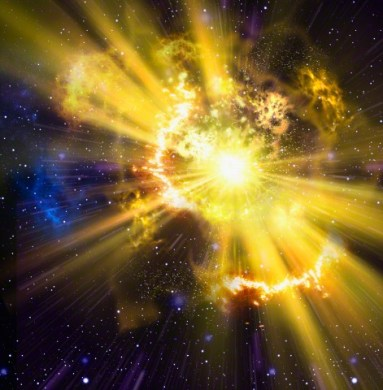 Yellow supernova exploding in outer space --- Image by © Oliver Burston/Ikon Images/Corbis