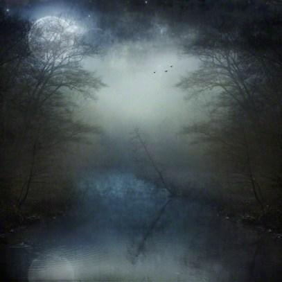 14 Mar 2014 --- Full moon over foggy river --- Image by © Dirk Wüstenhagen/Westend61/Corbis