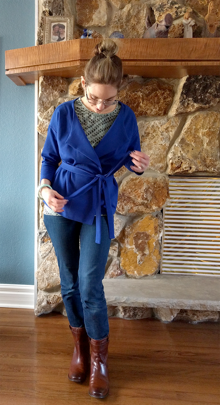 A tie belt is a simple addition to the Named Saunio cardigan.