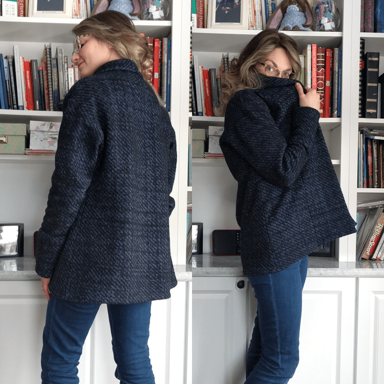 The Seamwork Olso long cardigan sweater pattern features a cozy shawl collar.