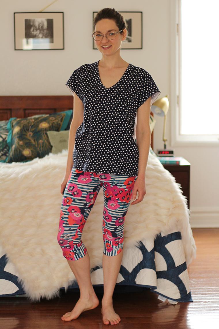 Seamwork's Manila leggings and BurdaStyle 04/2014 #109 knit V-neck pullover top compose a cool pajama set.