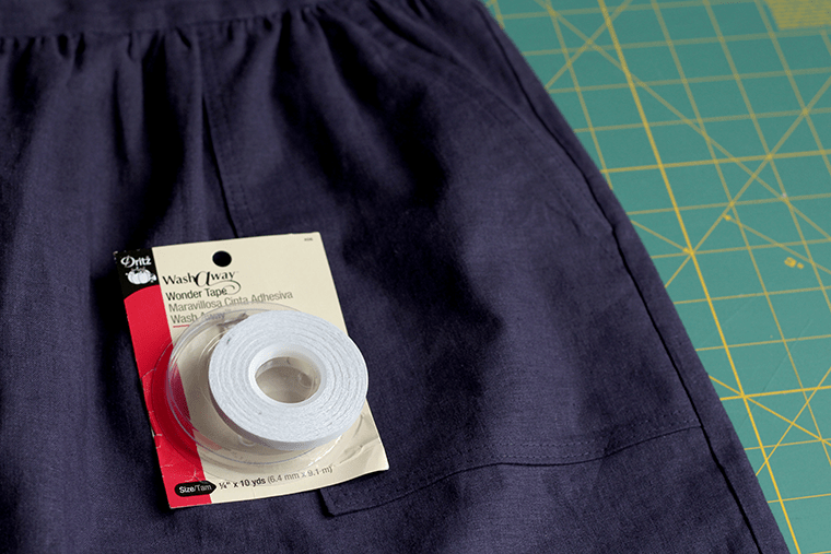 I used basting tape to keep the pockets in place while I stitched the Cali Faye Collection Pocket skirt.