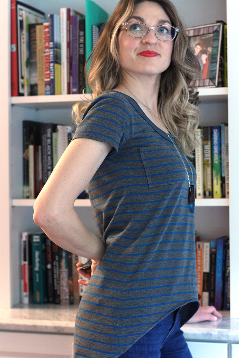 Try sewing a Megan Nielsen Briar top in stripes.