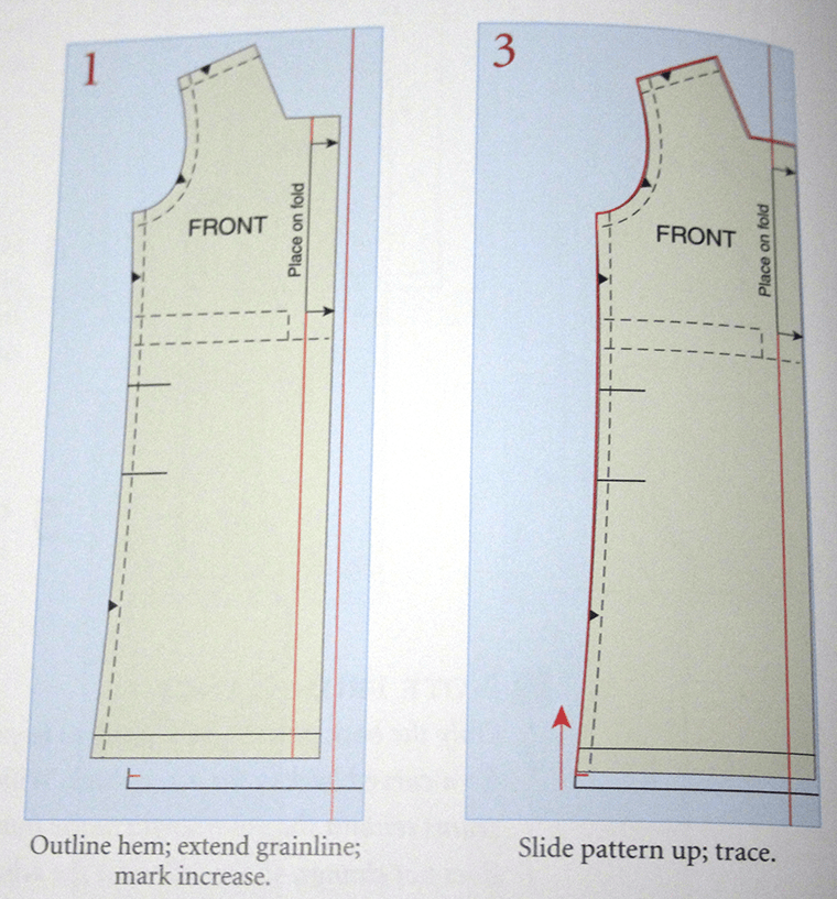 Use the pivot-and-slide method of pattern fitting to increase the length of a dress.