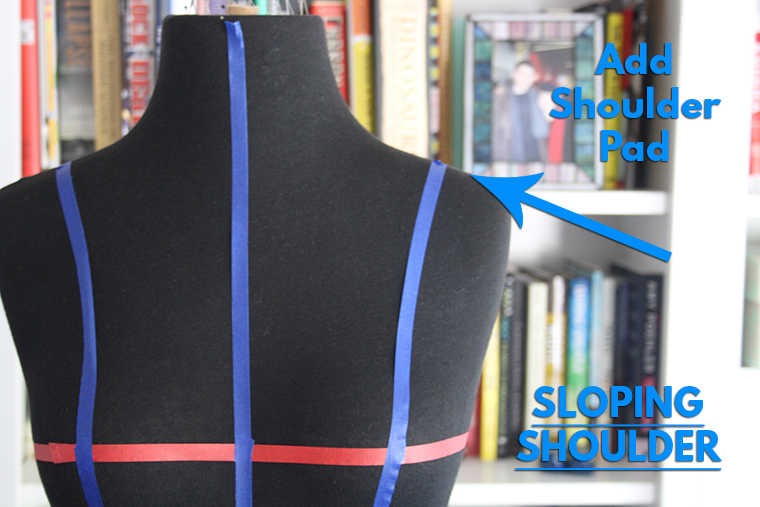 Build up one shoulder with a shoulder pad on your dress form.