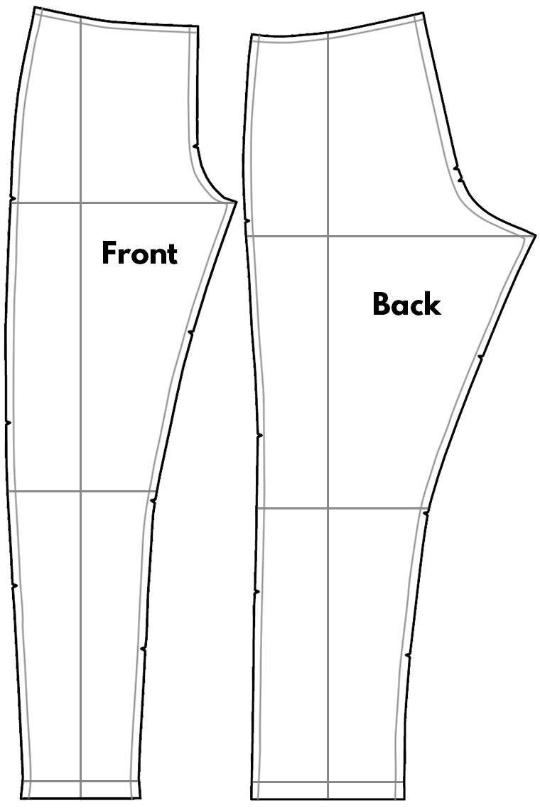Altering pants pattern pieces starts will marking seam allowances, the crotch line, the knee line, and the hem line.