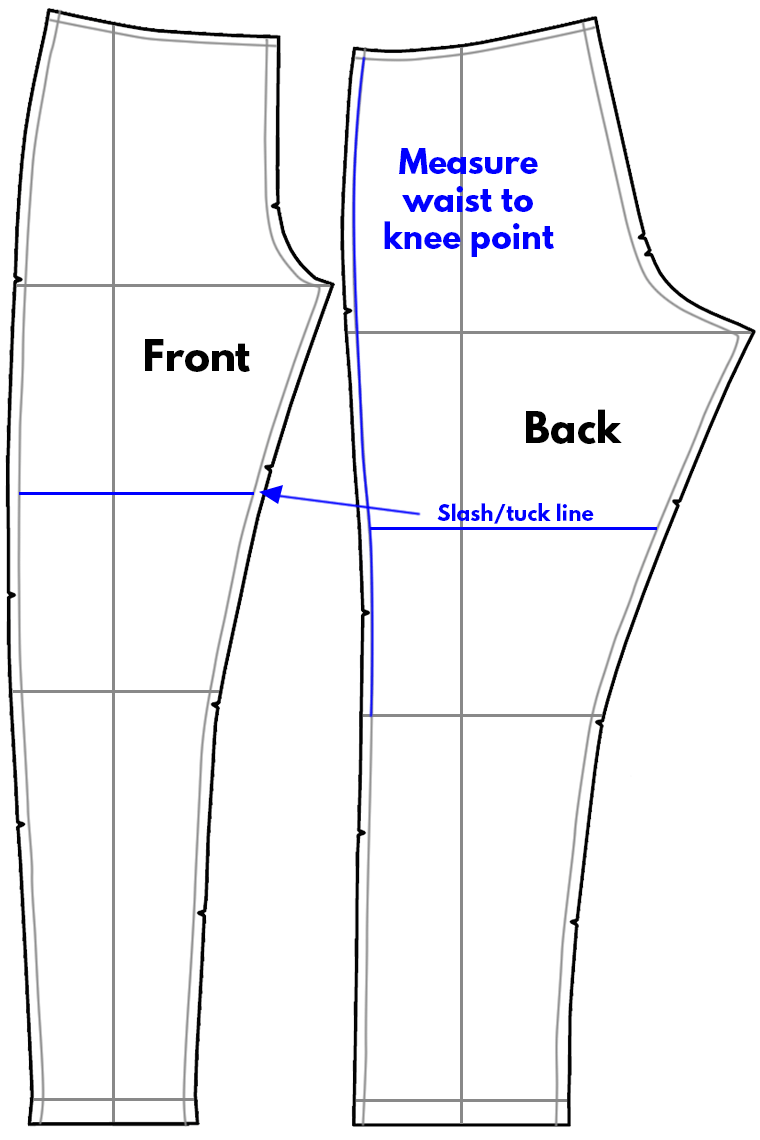 To adjust waist to knee length, slash or tuck above the knee line.
