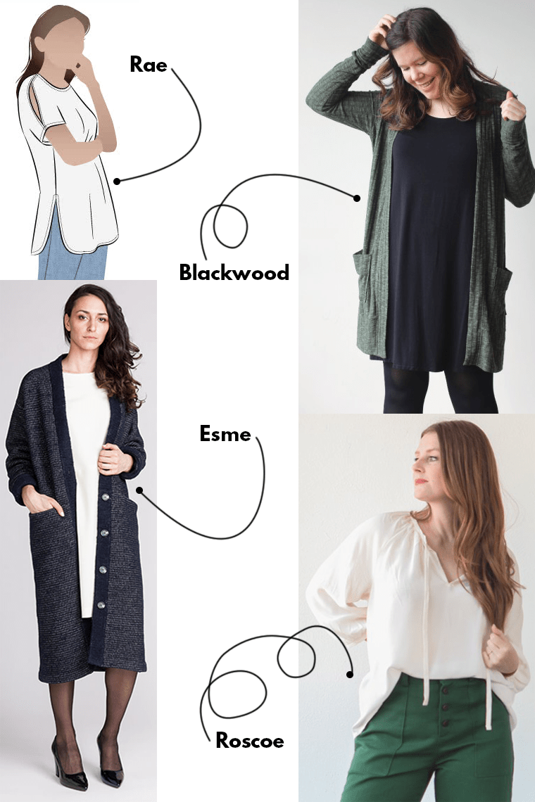 Loose is the name of the game for tops and cardigans when sewing for your period.