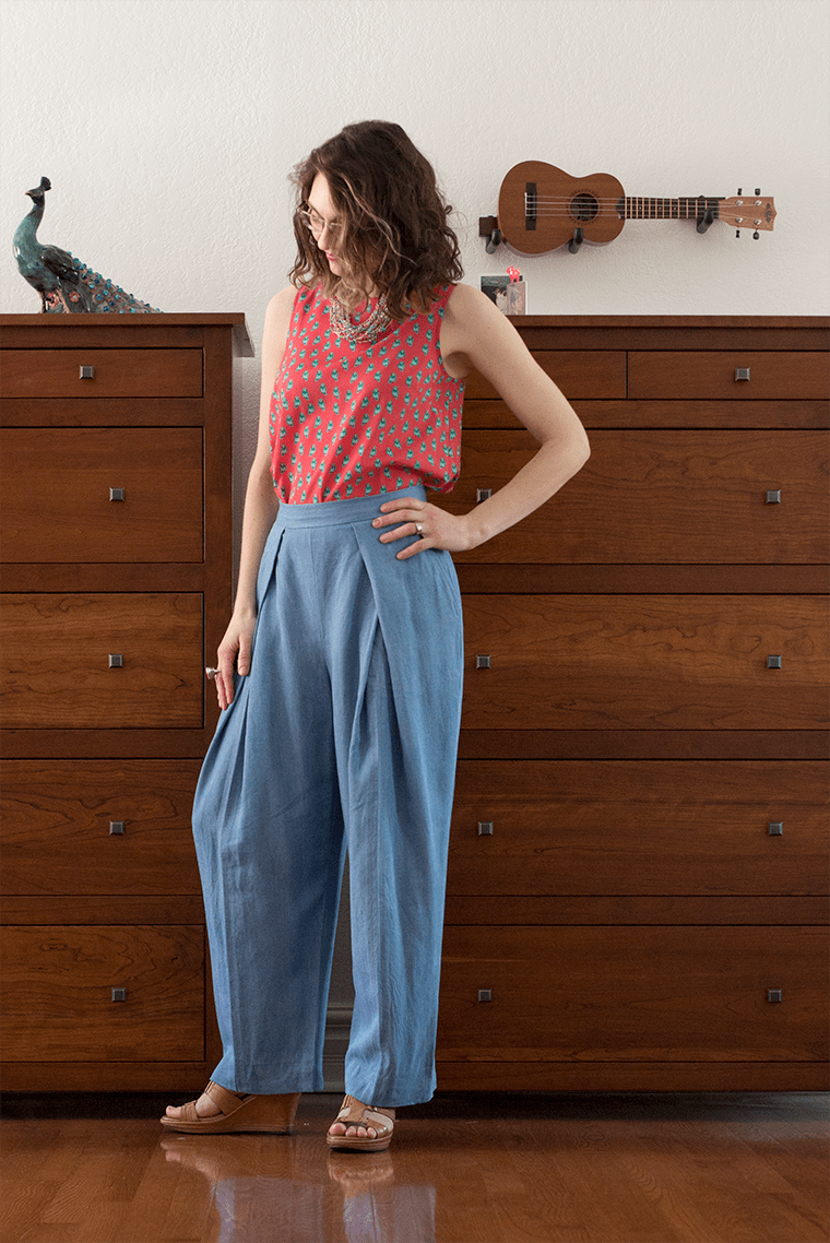 I sewed these Victory Patterns Esther pants in Tencel twill.