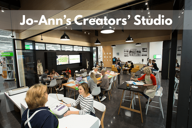 The new Jo-Ann concept store features a Creators' Studio for classes and meetings.