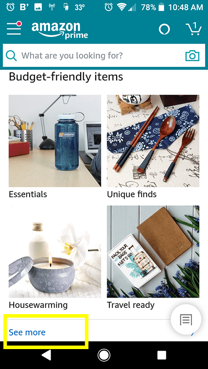 """You can access Amazon Bargain Finds on the app homepage by looking for """"Budget-Friendly Items."""""""