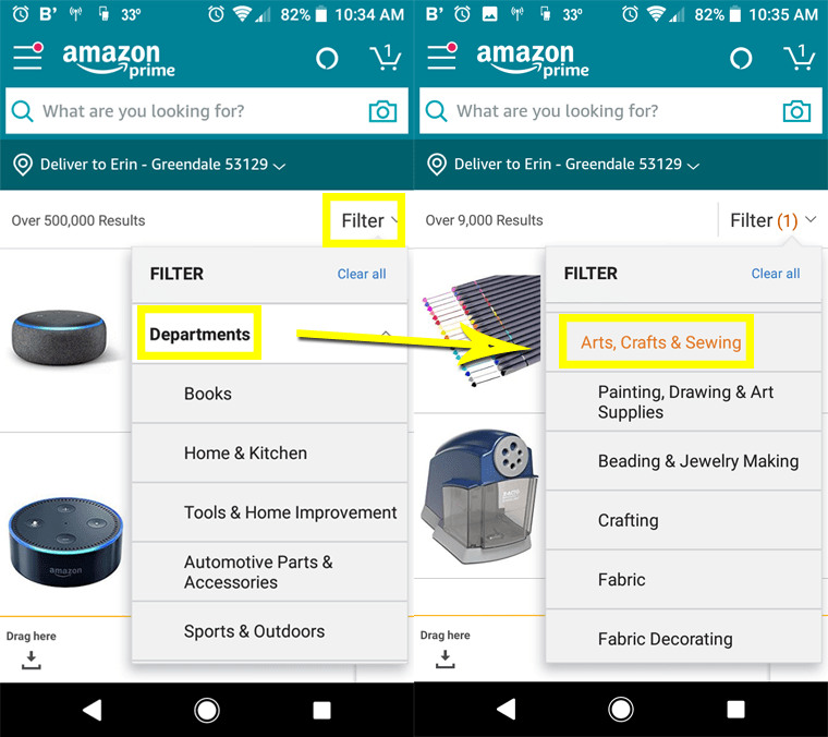 Here's how to filter for the Arts, Crafts & Sewing department categories in the Amazon Warehouse via the app.
