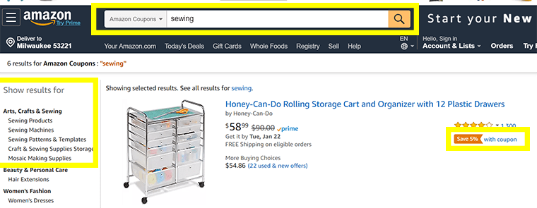 Search for coupons in different Amazon departments, including Arts, Crafts & Sewing.