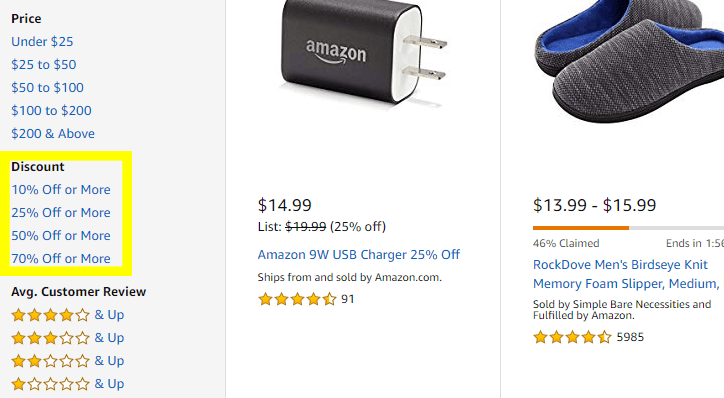 You can filter Today's Deals by discount! Cha-ching. That's one way to save money on Amazon.