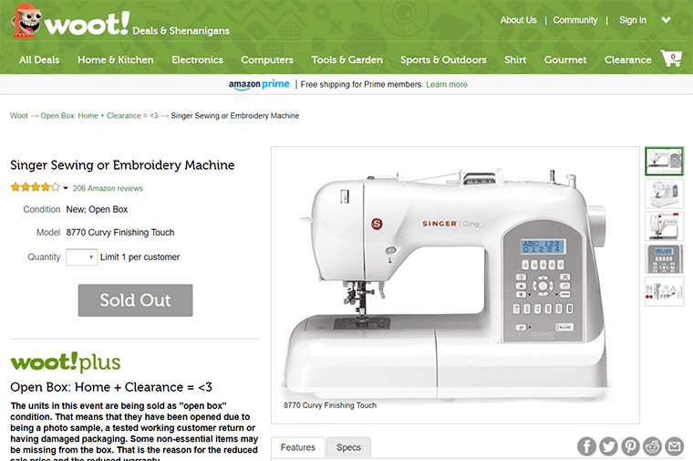 Amazon owns Woot!, which often has ripping deals on sewing machines.