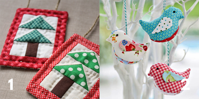 Sewing Christmas ornaments lets you use up scrap you'd otherwise throw away.