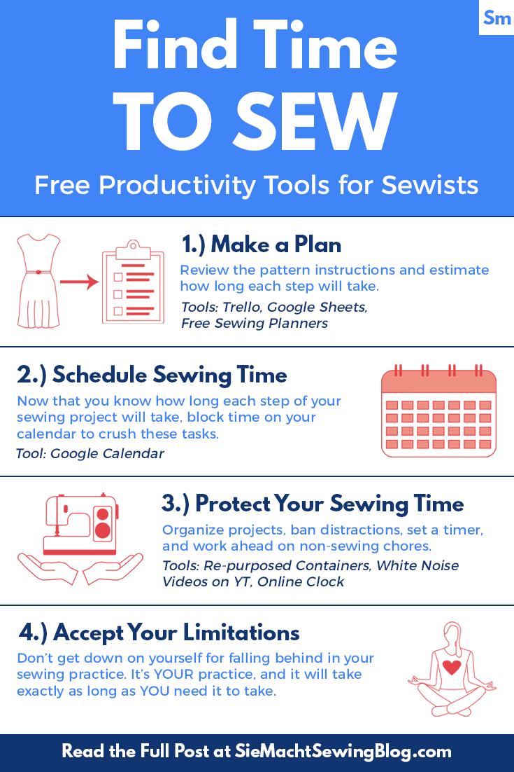 How do you make time to sew? My system involves prioritization and organization, aided by a handful of free productivity tools. Check out these four steps for how to find time to sew.
