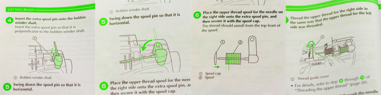 Here's a look at instructions on twin needle sewing from my sewing machine manual.