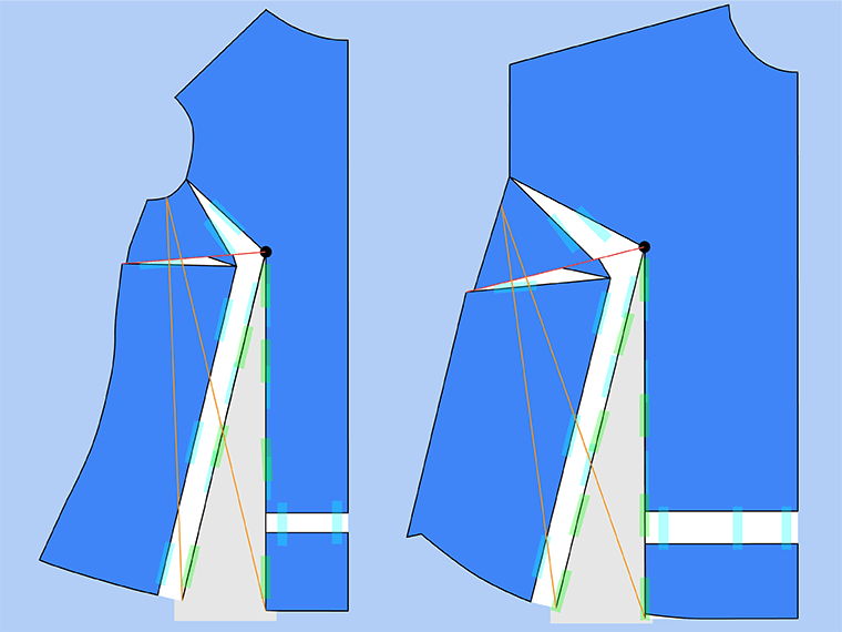 Full bust adjustment without darts. Draw new dart legs.