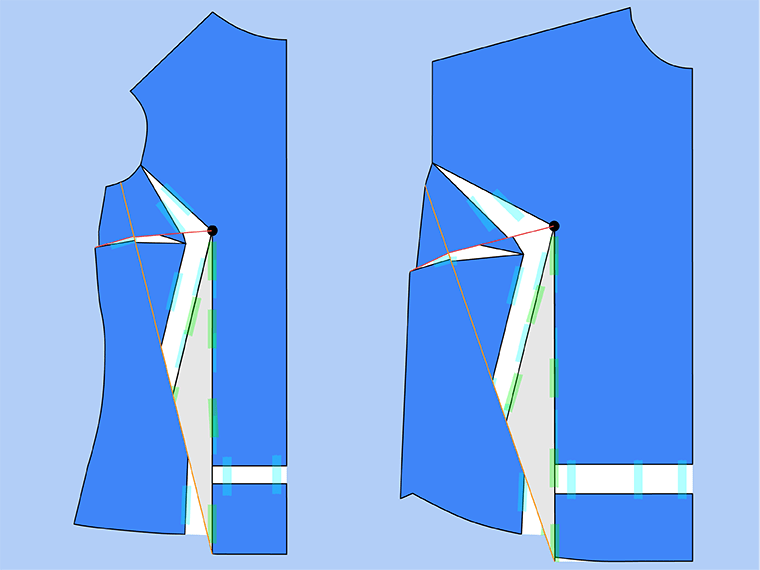 Bust adjustment on T-shirts. Swing the dart closed and tape the legs together.
