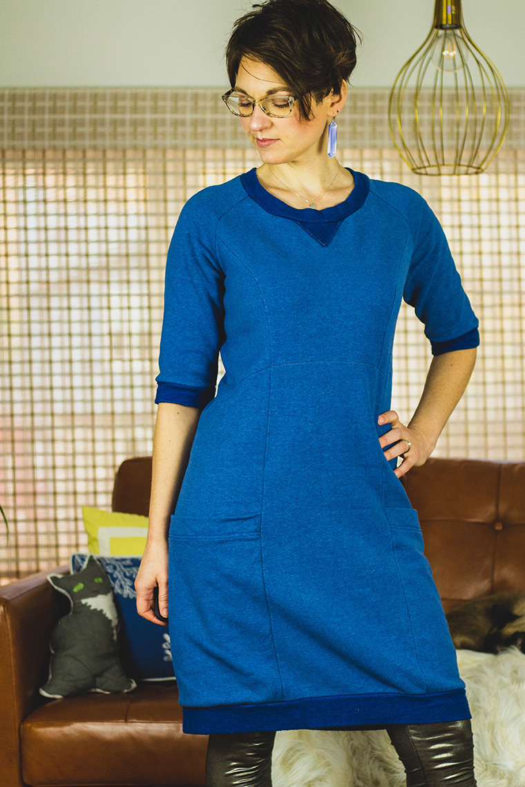 I sewed the Lola sweater dress in super-soft cotton fleece.