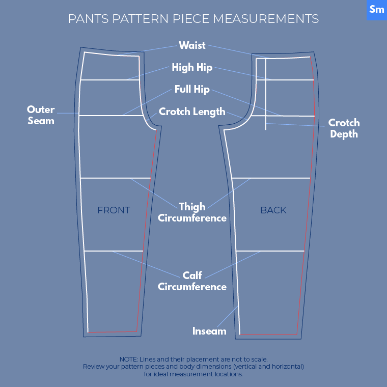 Here's how to make measurements on pants pattern pieces.