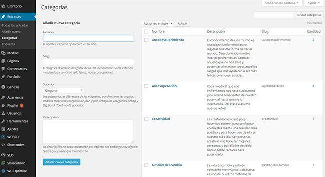 crear etiquetas en un blog wordpress
