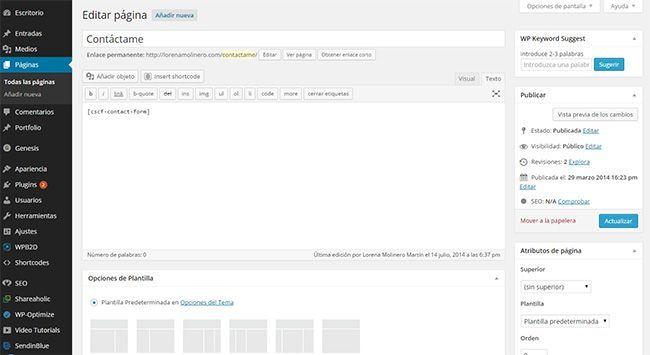 crear paginas en un blog