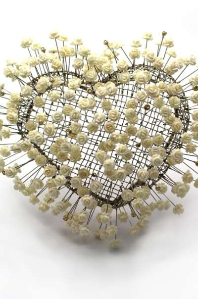 Lola Brooks. babiesbreath (brooch), 2015. stainless steel, gold, diamonds, vintage ivory roses 5 1/2 x 5 1/2 x 3 1/2 inches