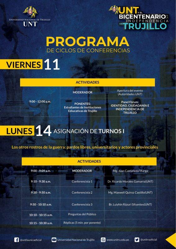 programa UNT Bicentenario Independencia Trujillo
